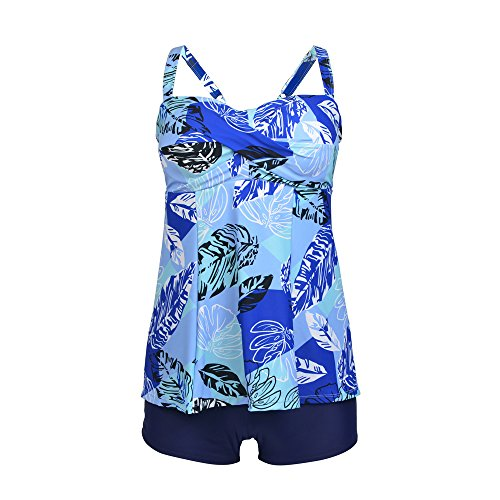 Bra Swimsuit Top (Yzan Women's Plus Size Floral Tank Top Tankini Underwired Push Up Two Pieces Swimsuit With Boyshort,Blue,XXX-Large)