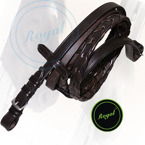 Royal Laced Reins./Vegetable Tanned Leather./Stainless Steel Buckles. (Leather Steel Reins)