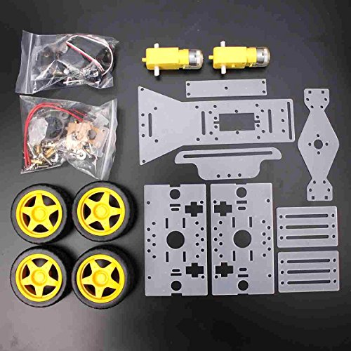 Toolcool DIY Steering Engine 4 wheel 2 Motor Smart Robot Car Chassis Kit For Arduino