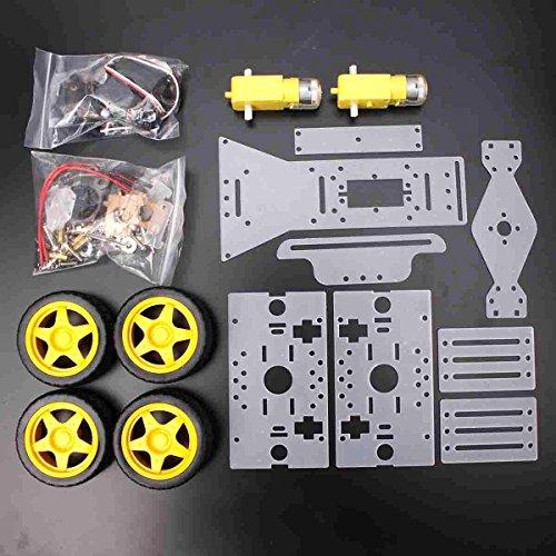 (Toolcool DIY Steering Engine 4 wheel 2 Motor Smart Robot Car Chassis Kit For Arduino)