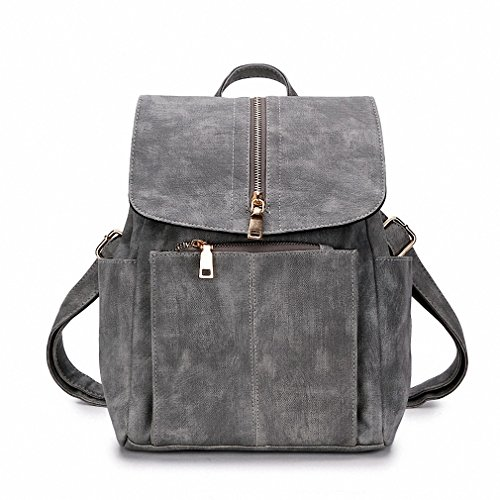 summer women leather backpacks school bags for teenage girls retro female bagpack vintage back packs Grey - York Gabbana New Dolce And