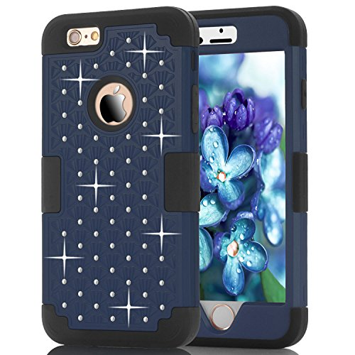 6S Plus Case, iPhone 6 Plus Case, iPhone 6S Plus Case, Speedup Diamond Studded Crystal Rhinestone 3 in 1 Bling Hybrid Shockproof Cover Silicone and Hard PC Case For iPhone 6/6S Plus (Navy Black) ()