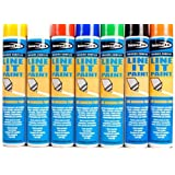 12 X Survey Line Marker Marking Spray Paint 750ml - Black Permanent by Bond-It