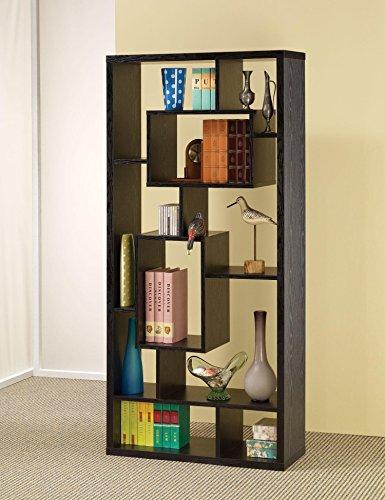 Asymmetrical Cube 10-Shelf Bookcase Black Oak