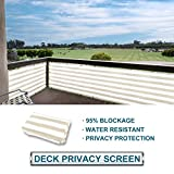 Cheap Coarbor Privacy Fence Screen Mesh for Balcony Porch Verandah Deck Terrace Patio Backyard Railing 160GSM Up to 90% Blockage 3'x15′ Beige and White Strips