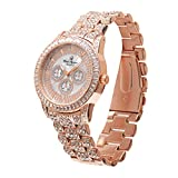 Bling-ed Out Mens Hip Hop Baguette Rhinestones Iced Out Rose Gold Watch - 8704 Rose Gold