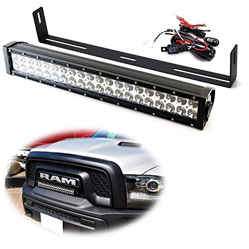 (iJDMTOY Front Grille 20-Inch LED Light Bar Kit For 2015-2018 Dodge RAM 1500 Rebel, Includes (1) 120W High Power LED Lightbar, Grill Front Mounting Brackets & On/Off Switch Wiring Kit )