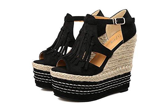 LvYuan Sandalias del verano de las mujeres / talón ultra atractivo / plataforma impermeable / paja trenzando / talón de cuña / Peep-toe la borla de la borla / oficina y carrera / zapatos romanos Black