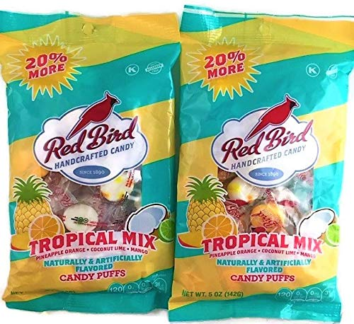 (Red Bird Tropical Mix Candy Puffs | Pineapple Orange Coconut Lime Mango | 2 x 5 Ounce Bags)