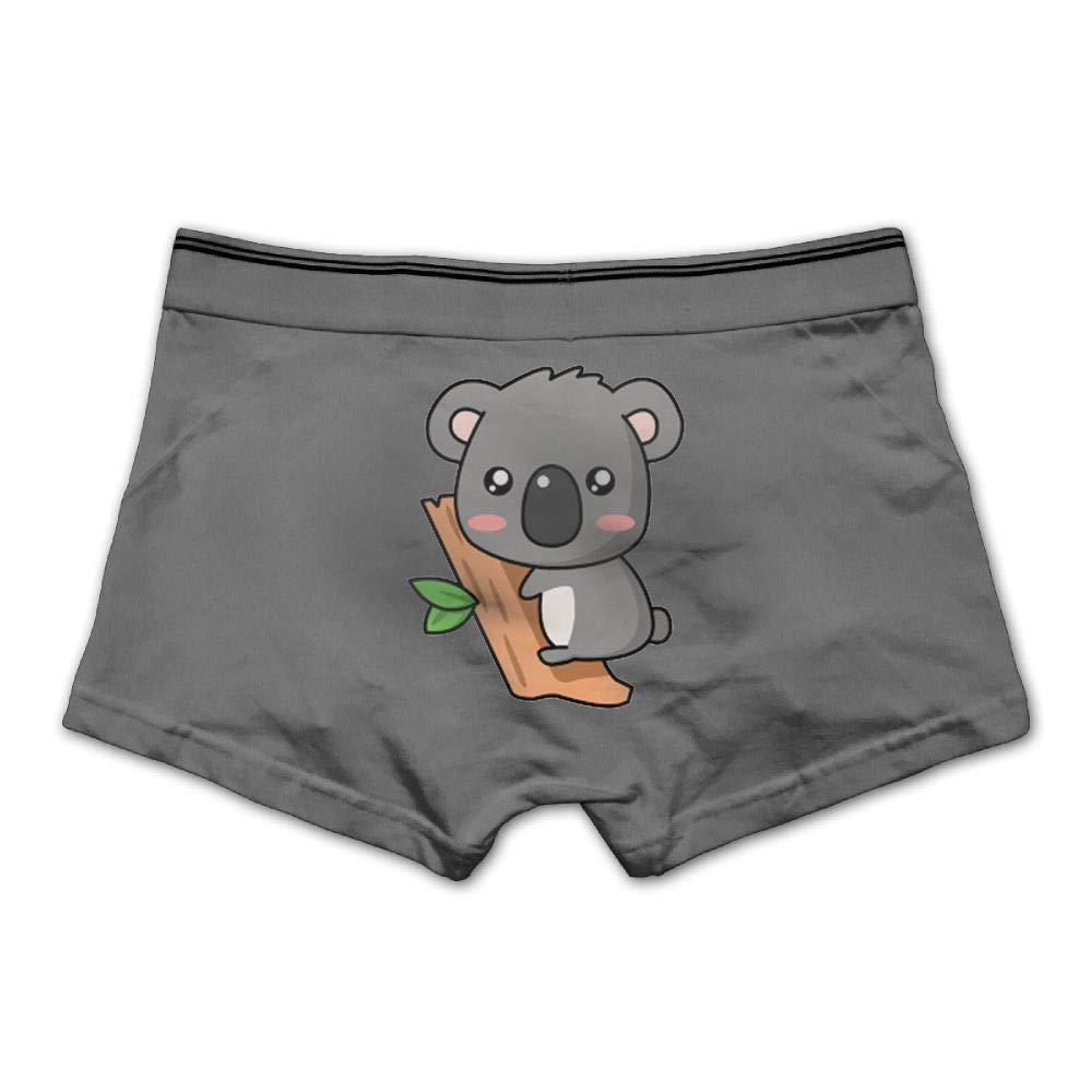 Mens Cute Koala Underwear Cotton Boxer Briefs Stretch Low Rise Trunks Ash