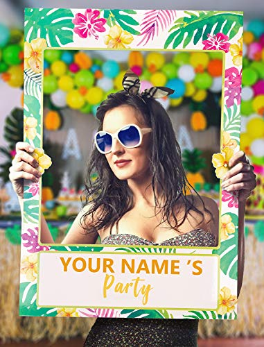 2 in 1 Luau Photo Booth Props Frame Party Supplies - Hawaiian Tropical Tiki Birthday Baby Shower Bridal Shower Wedding Decorations (Frame 2 In Photo 1)
