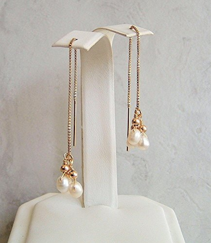 14kt Gold Birthstone Cluster Earrings (White Cultured Freshwater Pearl Briolette Gold Filled Ear Thread Earrings June Birthstone Gift Idea)