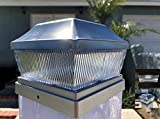 Set of 4 Stainless Metal Plated 2 SMD LED Deck Solar Post Cap 28 Lumens (Silver - Set of 4)