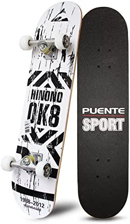 PUENTE 31 Skateboards Complete,Tricks Skateboard for Beginners Pro- 7 Layer Canadian Maple Wood Double Kick Concave Skateboard