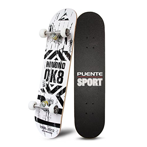 PUENTE 31 Inch Complete Skateboard - 8 Layer Canadian Maple Wood Double Kick Concave Skateboards, Tricks Skate Board for Beginners and ()