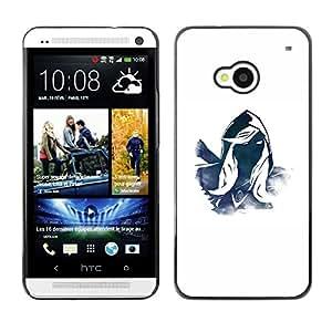 TopCaseStore / la caja del caucho duro de la cubierta de protección de la piel - Mysterious Character Hero Blue White Hood - HTC One M7