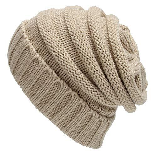 LACE ELEMENTS Women Winter Knit Warm Hat Stripe Ski Baggy Slouchy Beanie Fashion Cap (Beige, -