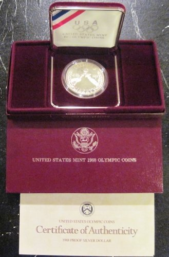 1988 S US Olympic Silver Dollar $1 OGP US Mint $1 Proof US Mint
