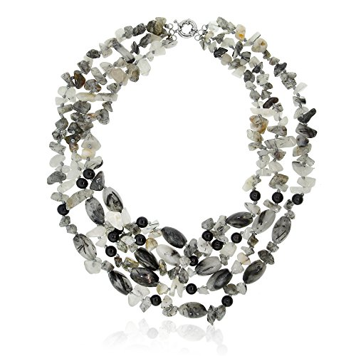 (Gem Stone King 18 Inch 4 Strand Multi-Shaped Quartz chip Spring Ring Necklace)
