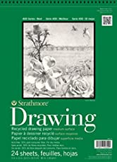 "Strathmore 400 Series Recycled Drawing Pad, Medium Surface, 9""x12"" Wire Bound, 24 Sheets"