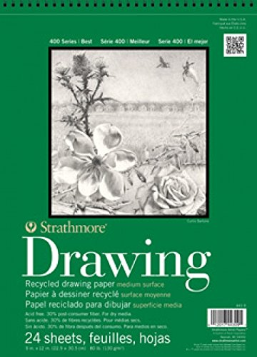 Drawing Materials Charcoal - Strathmore 443-11 400 Series Recycled Drawing Pad, Medium Surface, 11