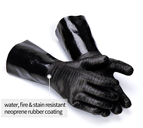 RAPICCA BBQ Gloves -Smoker, Grill, Cooking Barbecue Gloves, for Handling Heat Food Right on Your Fryer, Grill or Oven. Waterproof, Heat Resistant, Fireproof, Oil Resistant Neoprene Coating 14-Inch