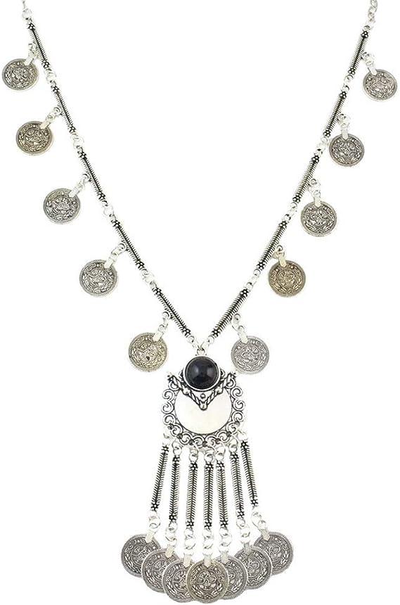 stylish bohemian vintage silver coin tassel waist chain accessory Vintage carved coin pendant waist chain