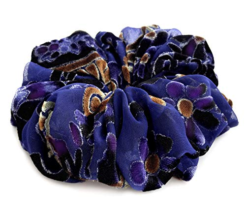 Navy Blue Burnout Velvet Chiffon Hair Scrunchie Designer Accessories Stylish Hair Band Ponytail Holder Teen Girls Women