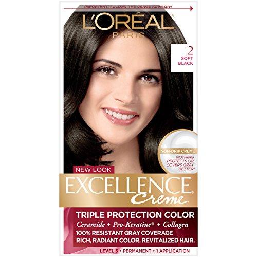L'Oréal Paris Excellence Créme Permanent Hair Color, 2.0 Soft Black (Permanent Hair Cream Dye)