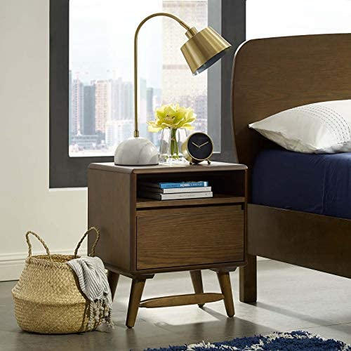 Modway Talwyn Rustic Modern Wood 2-Drawer Bedroom Nightstand In Chestnut