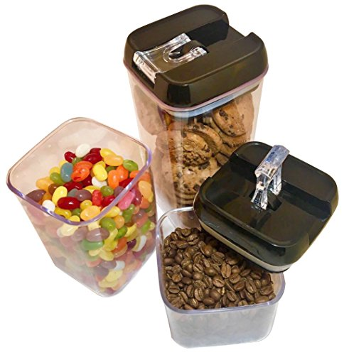 Airtight Food Storage Container Set by S.A.Pro | A durable assortment of stackable space savers with lockable black plastic lids | BPA free, FDA approved & dishwasher safe | 5 in one pack