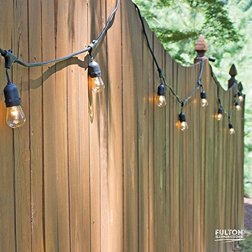 Fulton Illuminations S14 Outdoor String Lights with 15 Sockets and Bulbs, 3 Extra Bulbs and 13 Ft Extension Cord, 48 Feet - Commercial Weatherproof Patio String Lights by Fulton Illuminations (Image #3)