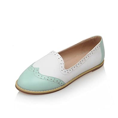 AllhqFashion Damen Ziehen auf PU Rund Zehe Ohne Absatz Gemischte Farbe Flache Schuhe, Weiß, 37