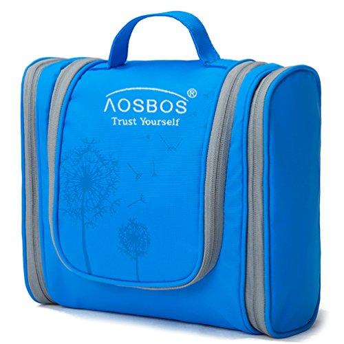 Aosbos Hanging Toiletry Bag for Women Men, Portable Travel Cosmetic Makeup Organizer Bag (Blue 1)
