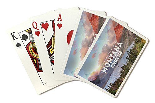 Big Sky Country Montana - Rubber Stamp (Playing Card Deck - 52 Card Poker Size with Jokers)