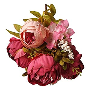 Yezijin Fake flower, 1 Bouquet Vintage Artificial Peony Silk Flowers Bouquet for Indoor Outside Hanging Planter Home Garden Décor 39