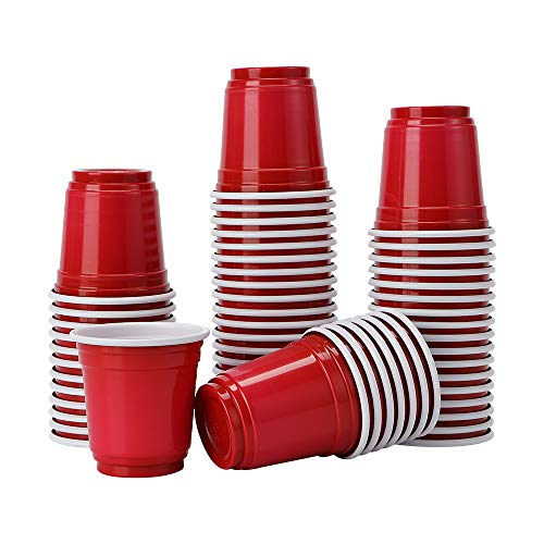 Tashiliving Glasses [200 Pack-2 oz] Mini Party cups, Plastic Shot Glasses, Jager Bomb, Sample Cups, Red