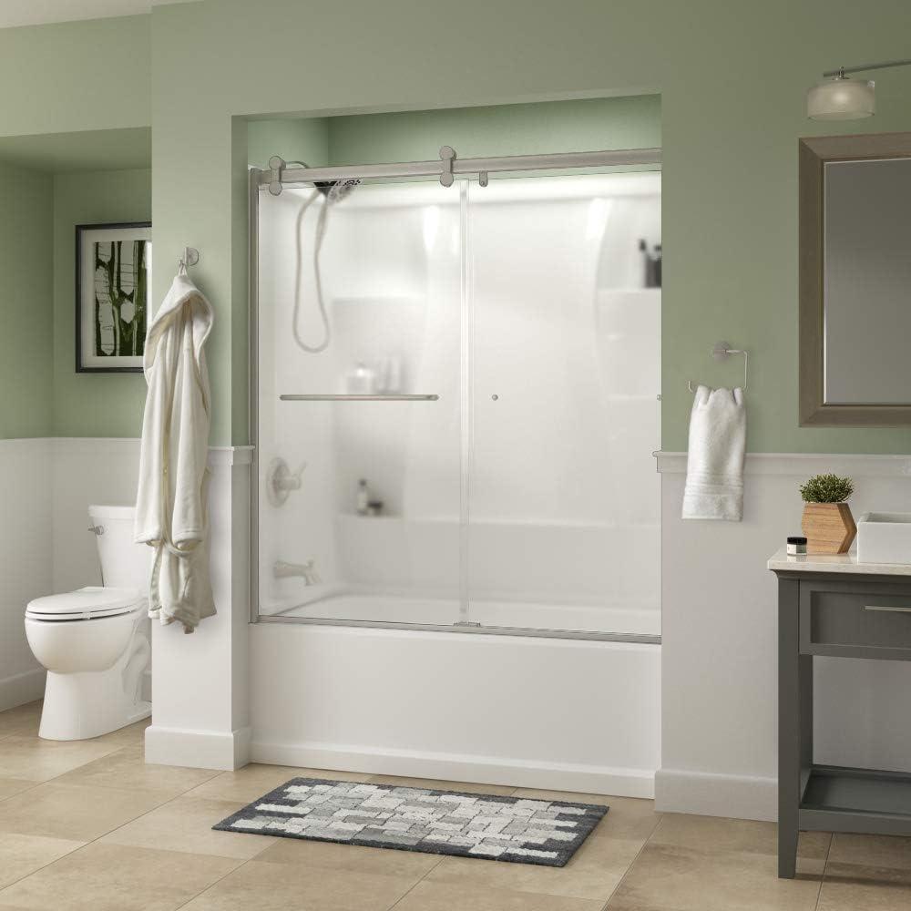Delta Shower Doors SD3927440 Classic Semi-Frameless Contemporary Sliding Bathtub 60 x58-3 4, Nickel Track