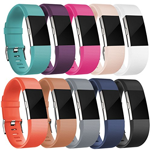 Band for 2016 Fitbit Charge 2 HR, Accessories Replacement Sport Fitness Band for Fitbit Charge 2, Pack of 10, Large