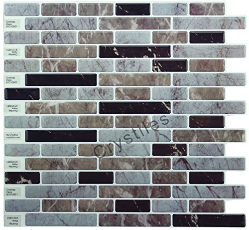 "Crystiles Peel and Stick DIY backsplash Tile Stick-on Vinyl Wall Tile, Perfect backsplash idea for Kitchen and Bathroom décor Projects, Item #91010851, 10"" X 10"" Each, 6 Sheets Pack"