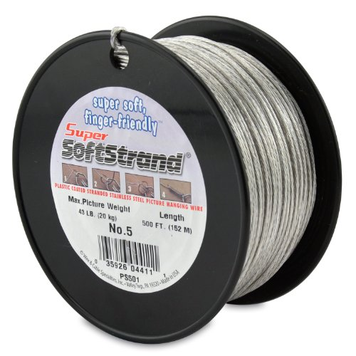 SuperSoftstrand 500-Feet Picture Wire Vinyl Coated Stranded Stainless - Hanging Picture Wire