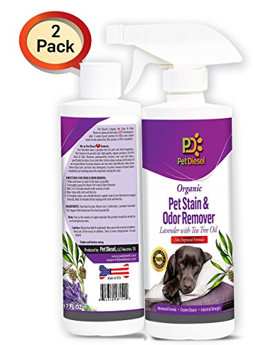 Pet Diesel 2 Pack Organic Pet Stain & Odor Spray Remover   Best Organic Enzyme Cleaner For Pet Odor Elimination & Dog, Cat Urine Stain Removal - Lavender - Ideal For Wide Area Stains - By