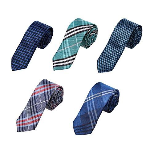 Skinny Neckties (DANF0050 Multicolors 5cm-width Polyester Skinny Ties Luxury Design Skinny Ties - 5 Styles Available Handsome Designer By Dan Smith)