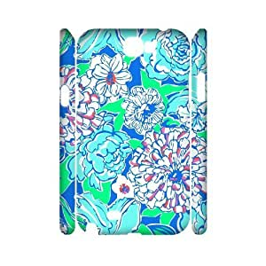 Blue Flowers DIY 3D Cover Case for Samsung Galaxy Note 2 N7100,personalized phone case ygtg613146