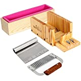 Product review for Handmade Soap Making Tool Set-4 Adjustable Wooden Loaf Cutter Box 2 Pieces Stainless Steel Blades and Rectangle Silicone Mold