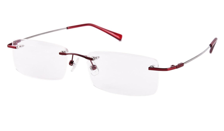 Agstum Titanium Alloy Rimless Eyeglasses Business Optical Glasses Frame Clear Lens 51mm A-8125