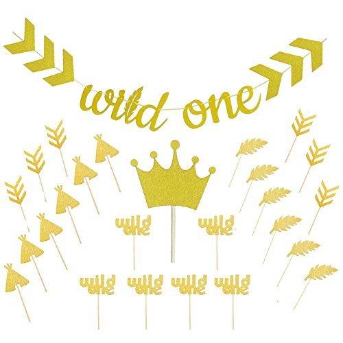 Sakolla Wild One - Cartel con purpurina dorada con corona de purpurina dorada para cupcakes, diseño de flecha de plumas,...