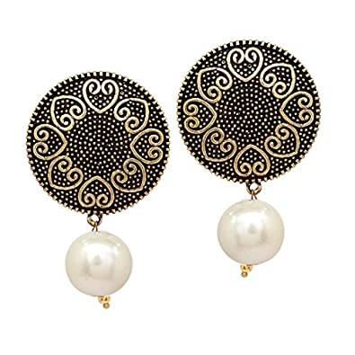 6c99226a840632 V L IMPEX Hot Fashion Light Weight Designer Stud With Pearl Beads Earrings  For Women & Girls