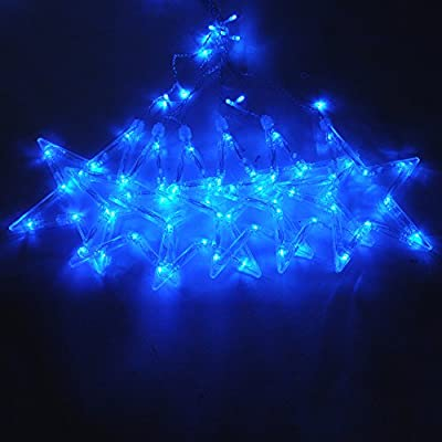 Five-pointed Star Fairy String Lights, Ocaler Romantic LED Lamps Christmas Party Decor, Curtain Light EU Plug