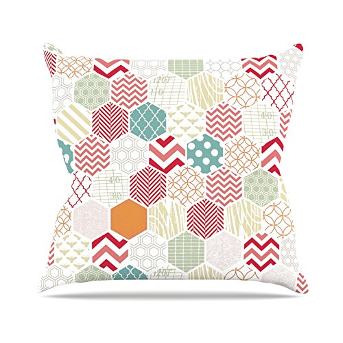 Kess InHouse Heidi Jennings Geo Pastel Geometric Outdoor Throw Pillow, 18